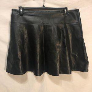 "Dresses & Skirts - Black Leather Flare Skirt 20"" Waist"